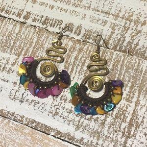 Jewelry - Swirled Wire & Crochet Beaded Earrings